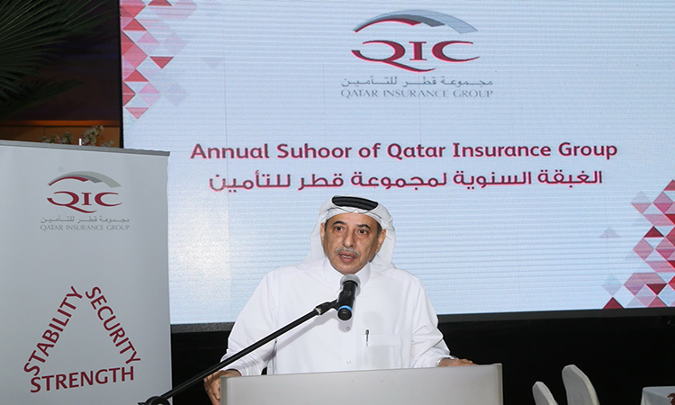 Senior Deputy Group President CEO of QIC Group Mr. Ali Al Fadala during his speech - Qatar Insurance Group organized Suhoor for its Employees