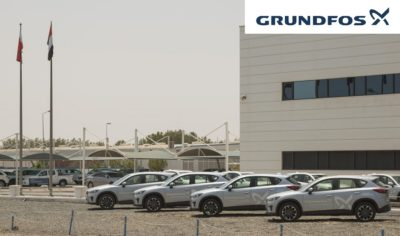 Grundfos company cars parked in front of our Grundfos Headquarters 400x236 - Grundfos Roams in UAE with Sustainability