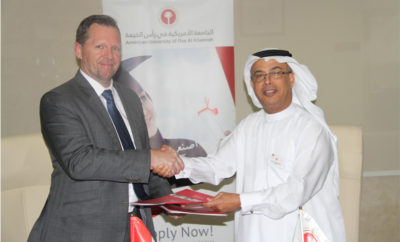 Prof. Al Alkim and Mr. Bryan Saxby 400x242 - AURAK Signs MoU with OAIRO Alliance