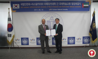 Prof. Hassan AlAlkim and Prof. Dong Sung Cho 1 400x242 - AURAK Signs MoU with Incheon National University