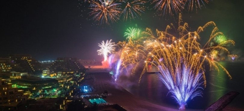 Al Marjan Island - fireworks in UAE on the new year's eve 2018