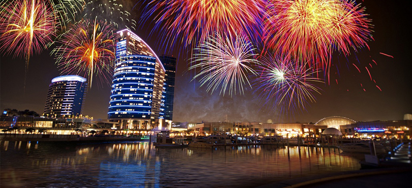 Dubai Festival City Mall - fireworks in UAE on the new year's eve 2018
