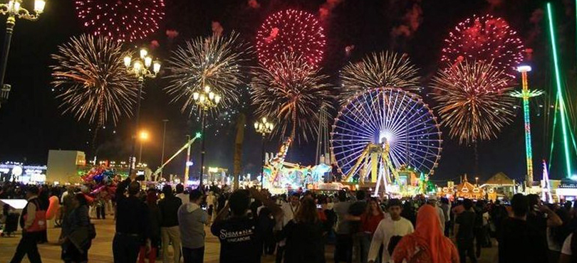 Global Village - fireworks in UAE on the new year's eve 2018