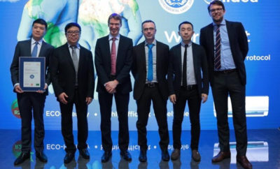 Midea RAC representatives took photo with German Federal Ministry for the Environment Photo Business Wire 1521643957 400x242 - Midea Launches World's First Eco-Friendly Air Conditioner Certified by Blue Angel