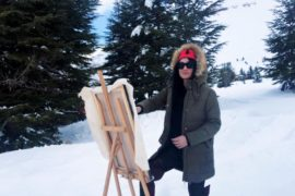 painting in the snow 270x180 - 2 Famous Stars in Suzi's Art: Hallyday & Freddie Murcery