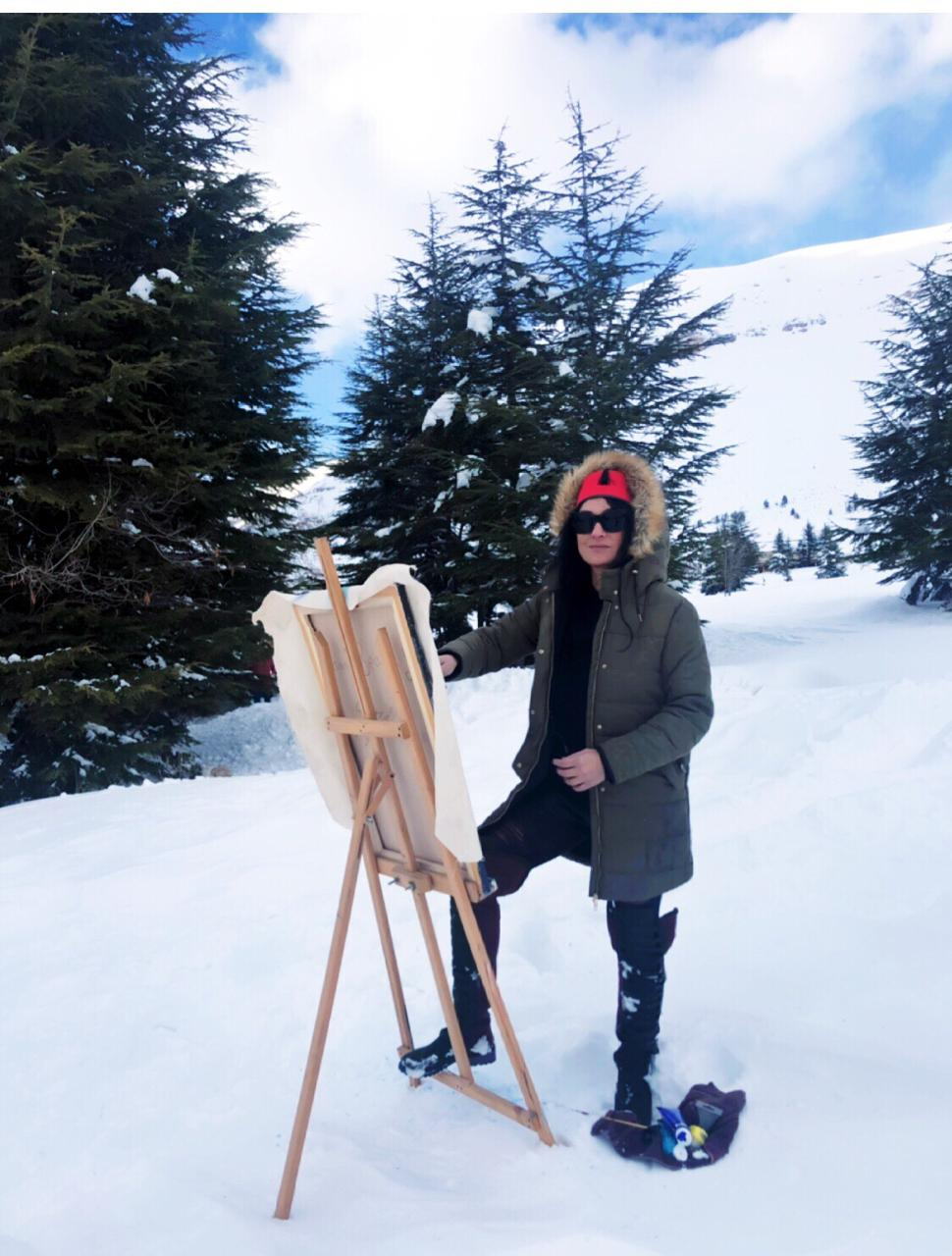 painting in the snow - 2 Famous Stars in Suzi's Art: Hallyday & Freddie Murcery